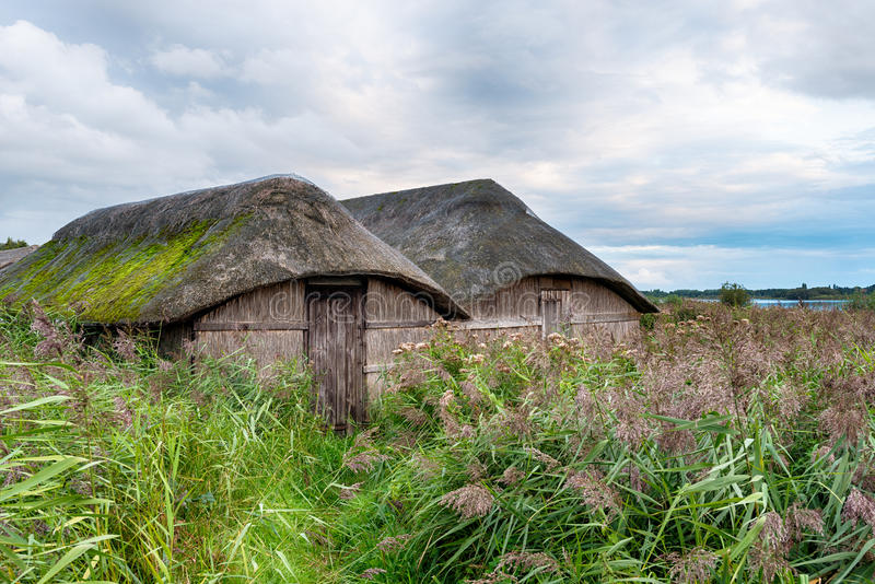 Thatched Boat Houses stock image