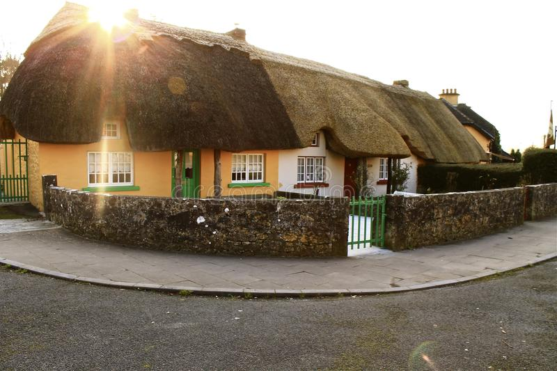 Thatched cottages in the Irish countryside stock photography
