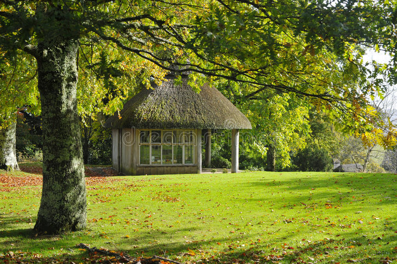 Thatched Garden Shelter royalty free stock photos