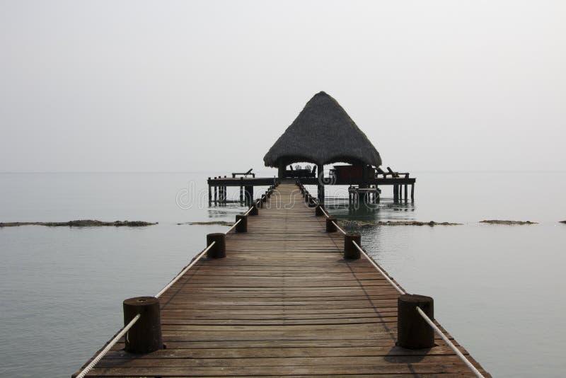 Thatched Hut Bar Dock Belize stock photos