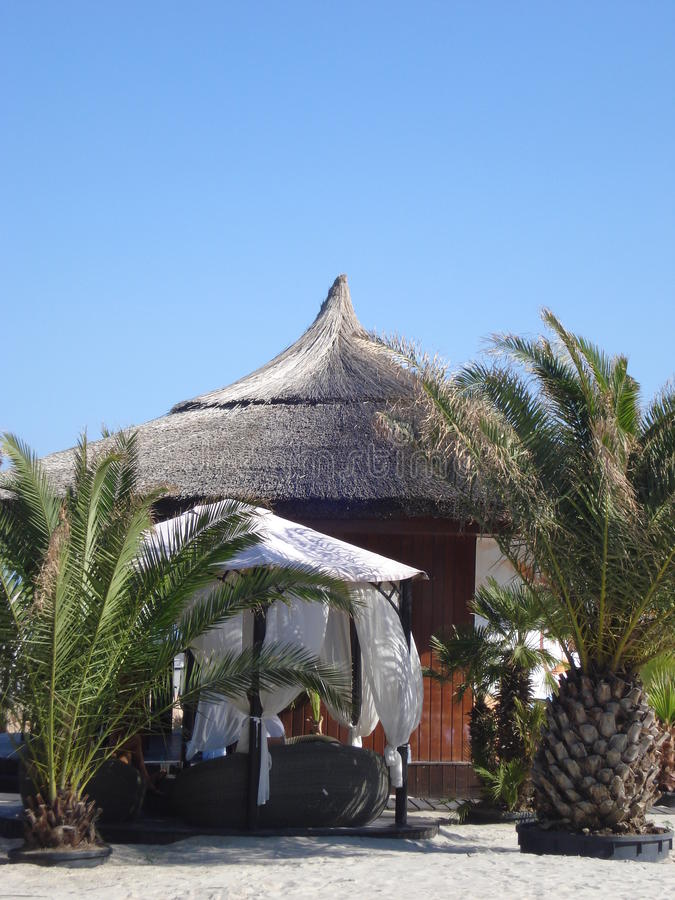 Thatched hut on the beach