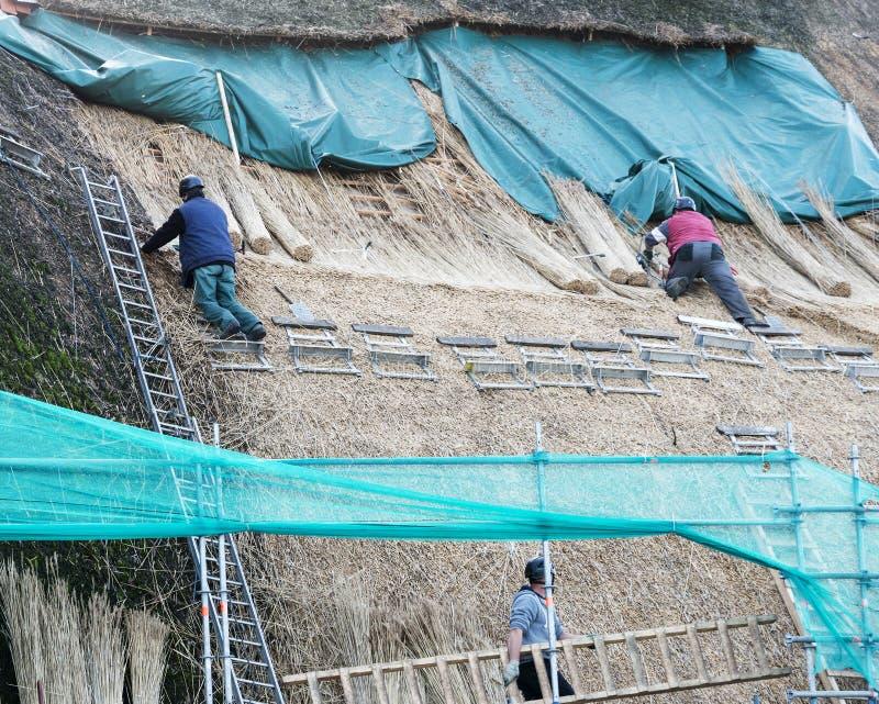 Thatchers που λειτουργεί στη στέγη στοκ εικόνα με δικαίωμα ελεύθερης χρήσης