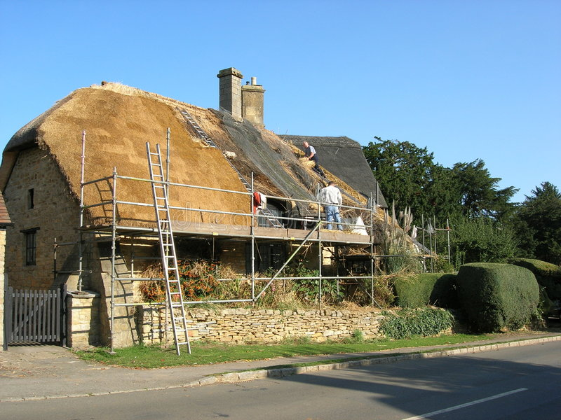 Thatching a country cottage royalty free stock photos