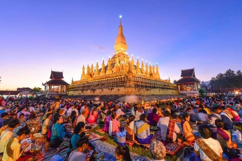 Thatluangfestival in Vientiane Laos PDR stock afbeeldingen