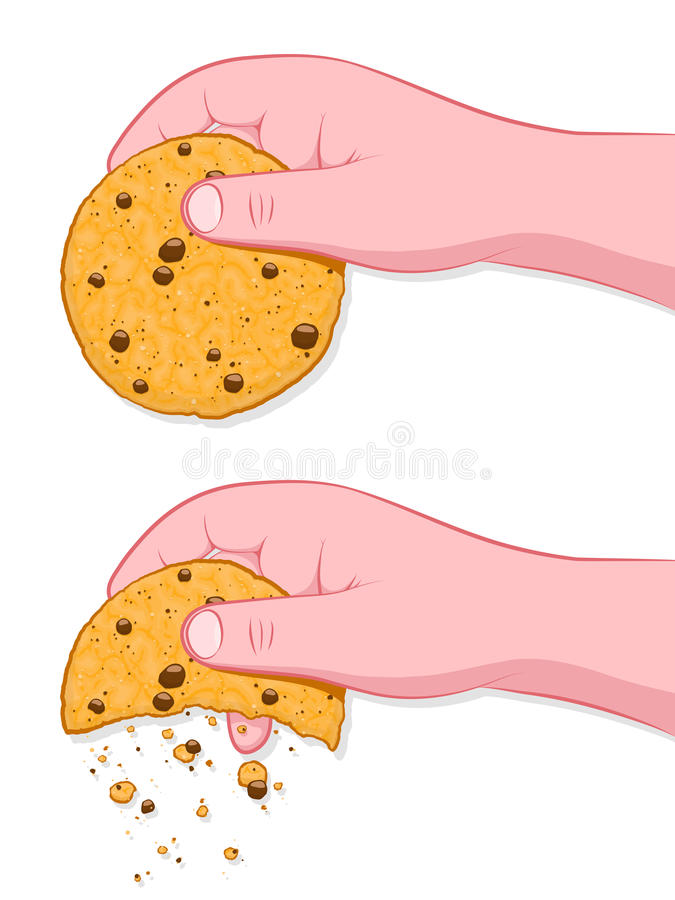Thats The Way The Cookie Crumbles Idiom. Thats The Way The Cookie Crumbles, human hand crumbling cookie on white stock illustration