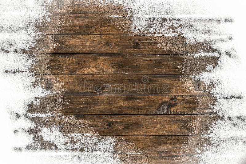 Thaw on the floor. Thaw on the wooden floor terrace in the backyard royalty free stock photography