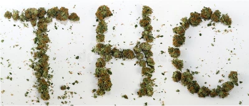 THC Spelled With Marijuana royalty free stock photos