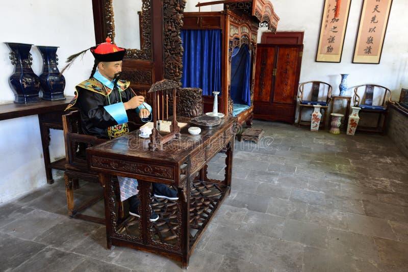 ThewaxfigureofLi Hongzhang die in recente Qing Dynasty beroemd is royalty-vrije stock afbeelding