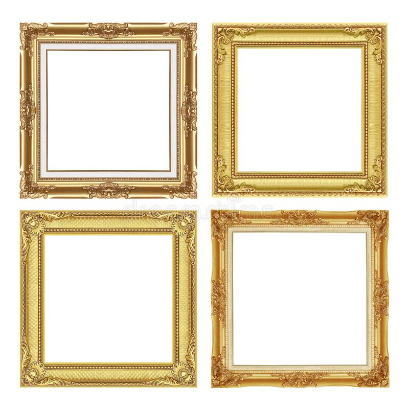 Free The Antique Gold Frame Colection Isolated On White / Frame Background Stock Images - 214690534