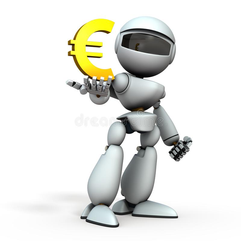 Free The Artificial Intelligence Robot Has A Currency Symbol In Its Hand. It Represents Economic Control. White Background. 3D Royalty Free Stock Photos - 164026778