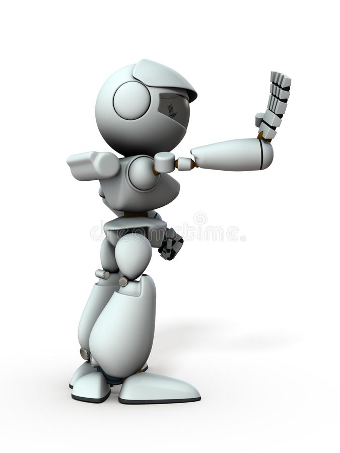 Free The Artificial Intelligence Robot Sticks Out One Hand Forward. Royalty Free Stock Images - 158816169