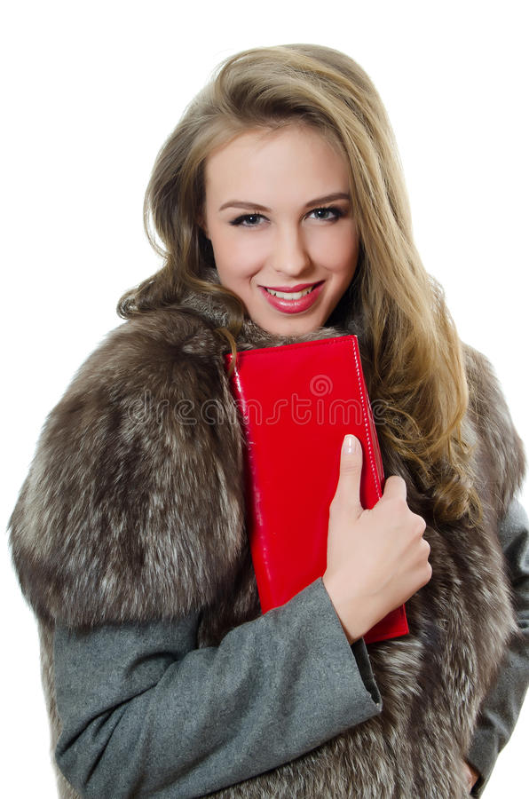 Free The Beautiful Girl With Red Handbag Royalty Free Stock Images - 23990189