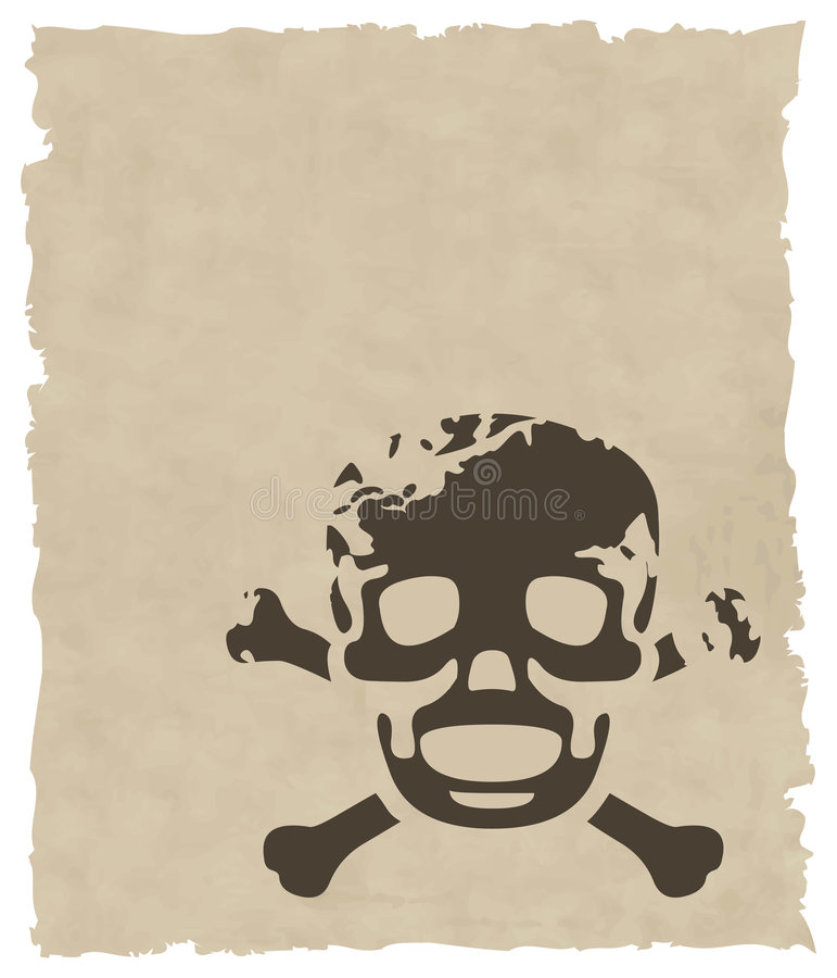 Free The Brown Vector Grunge Skull On Old Paper Stock Image - 8435381
