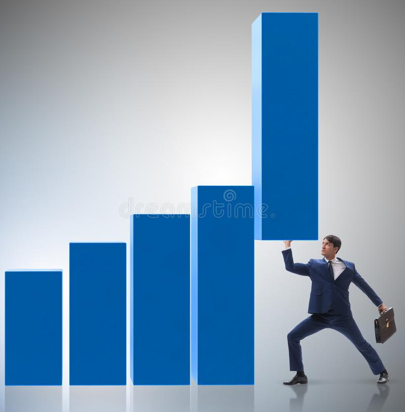 Free The Businessman Supporting Growtn In Economy On Chart Graph Stock Photos - 161395253
