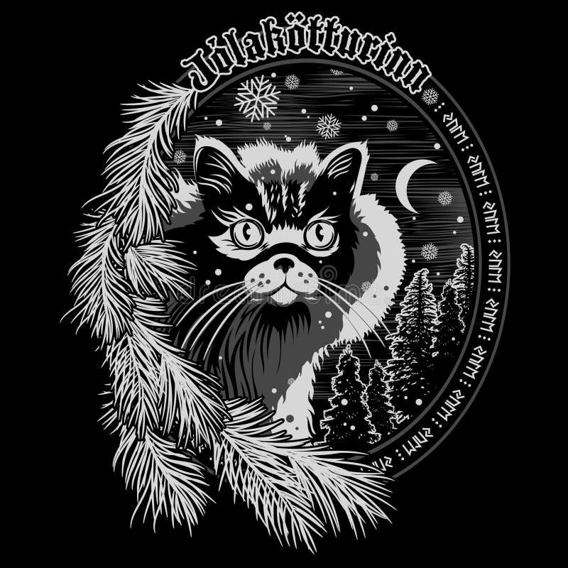 Free The Christmas Cat Of Iceland - The Yule Cat - Jolakotturinn, Icelandic Mythological Character. Christmas Design Royalty Free Stock Photography - 164359607