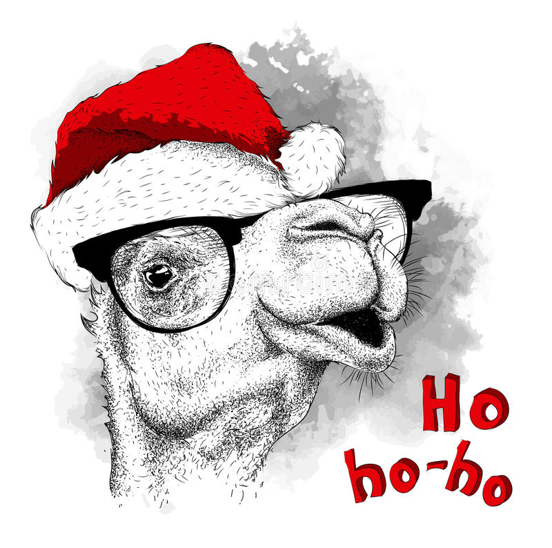 Free The Christmas Poster With The Image Camel Portrait In Santa`s Hat. Vector Illustration. Stock Photo - 83156730