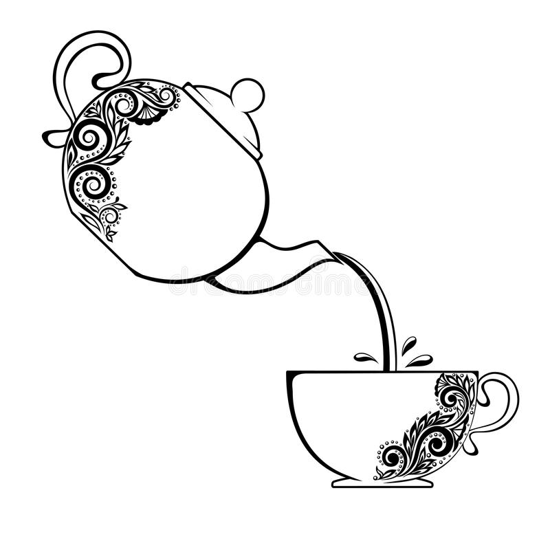 Free The Contour Of Cup And Teapot With Floral Element. Royalty Free Stock Images - 35602419