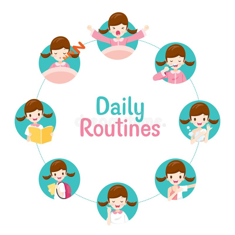 Free The Daily Routines Of Girl On Circle Chart Stock Photography - 112721412
