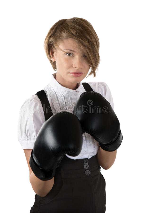 Free The Dissatisfied Girl In Boxing Gloves Royalty Free Stock Images - 19648539