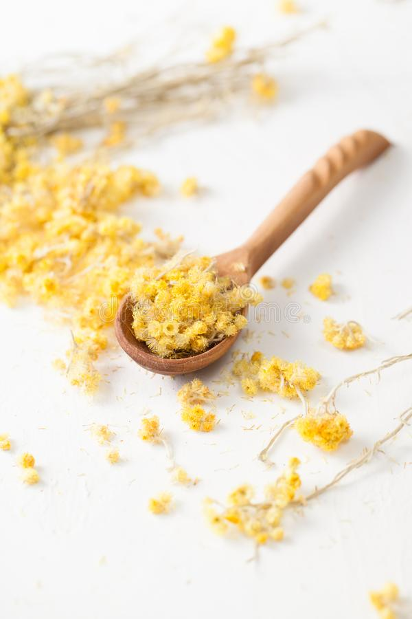 Free The Dried Herb Helichrysum On A White Table Royalty Free Stock Images - 113501669