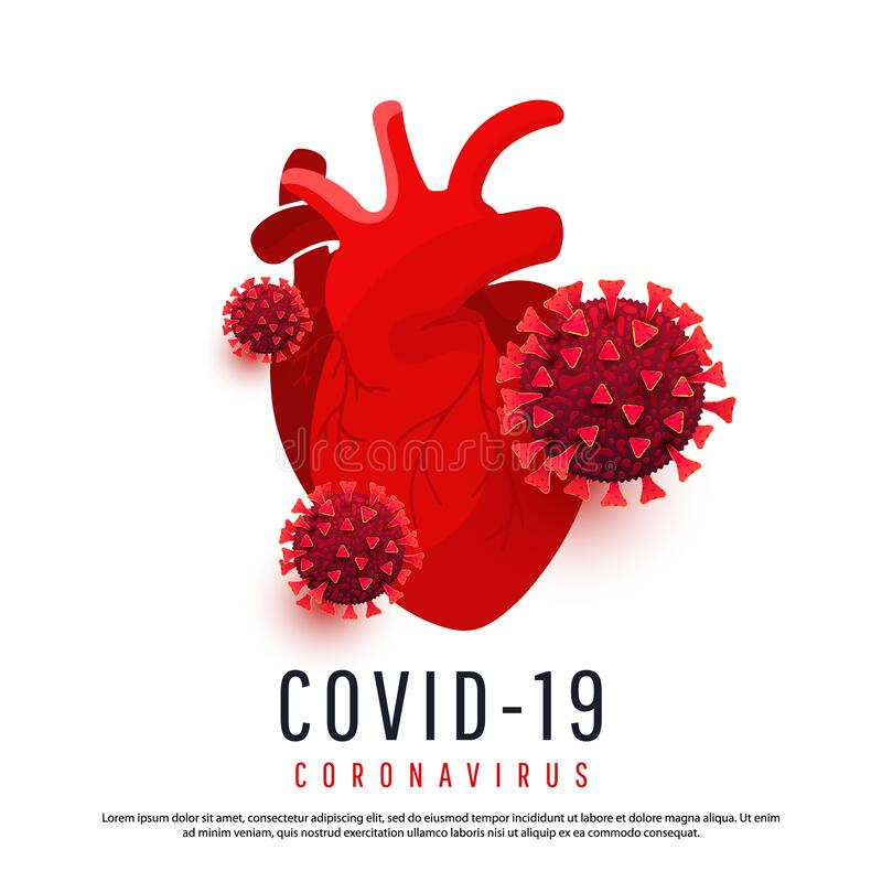 Free The Effect Of Coronavirus On The Human Heart. 3d Covid 19 Cells Infect A Human Heart Isolated On A White Background. Vector Stock Image - 176249341