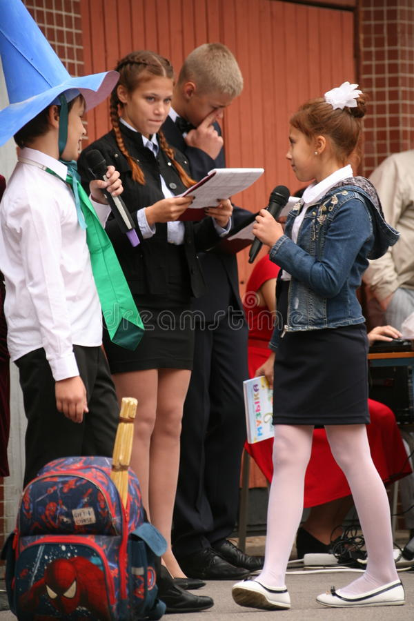 Free The First Call. September 1, Knowledge Day In Russian School. Day Of Knowledge. First Day Of School. Royalty Free Stock Photography - 77298517