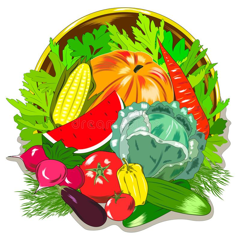 Free The Flat Pattern Of The Vegetables. Vegetable Harvest At The Farmers ` Market. Gardening, Vegetarianism. Vector Royalty Free Stock Images - 182167769
