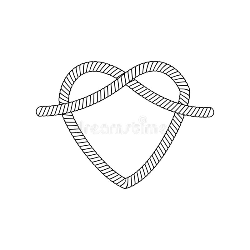 Free The Form And Shape Of The Heart Out Of The Loop And Rope Knot, Rope Or Cable, Isolated Vector Illustration. Royalty Free Stock Photography - 149956887
