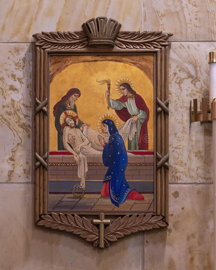 Free The Fourteenth Of The Fourteen Stations Of The Cross Inside Christ The King Church In Dallas, Texas. Royalty Free Stock Photos - 190617158