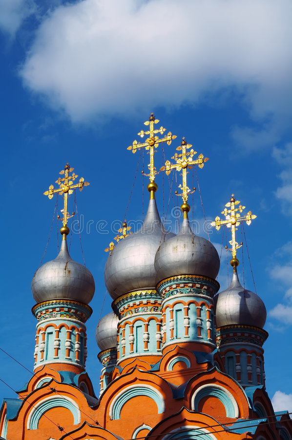 Free The Gilt Crosses On Domes Of Orthodox Church Stock Photography - 1702012