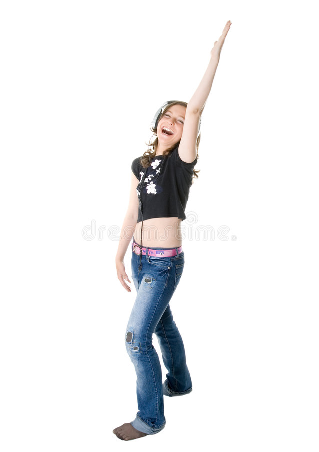 Free The Girl Listens To Music Stock Image - 9050541