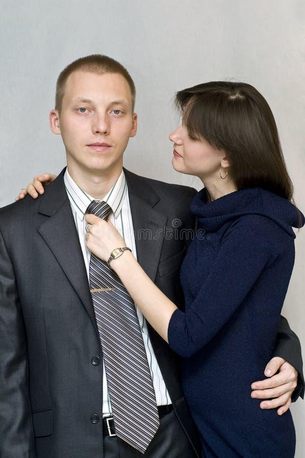 Free The Girl Straightens His Tie Man. Stock Photo - 12507840