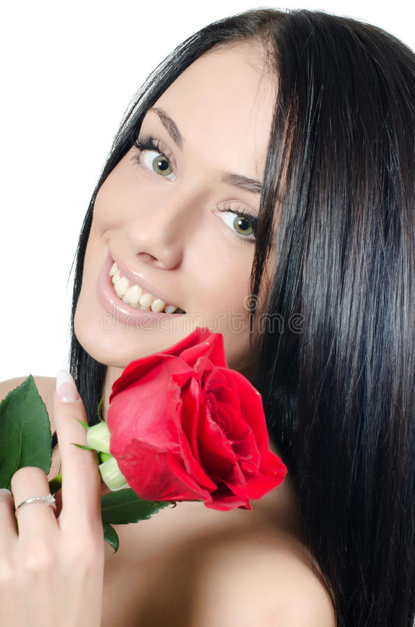 Free The Girl With Beautiful Hair With A Red Rose Stock Photo - 23010350
