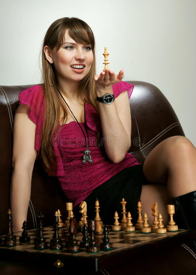Free The Girl With Chess Stock Photography - 23189802