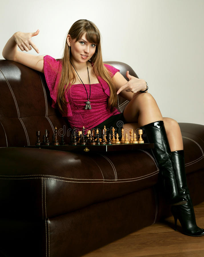 Free The Girl With Chess Stock Photo - 23264750