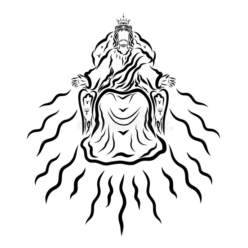 Free The Glorified Jesus Sits On The Throne, The Second Coming Royalty Free Stock Images - 145321429