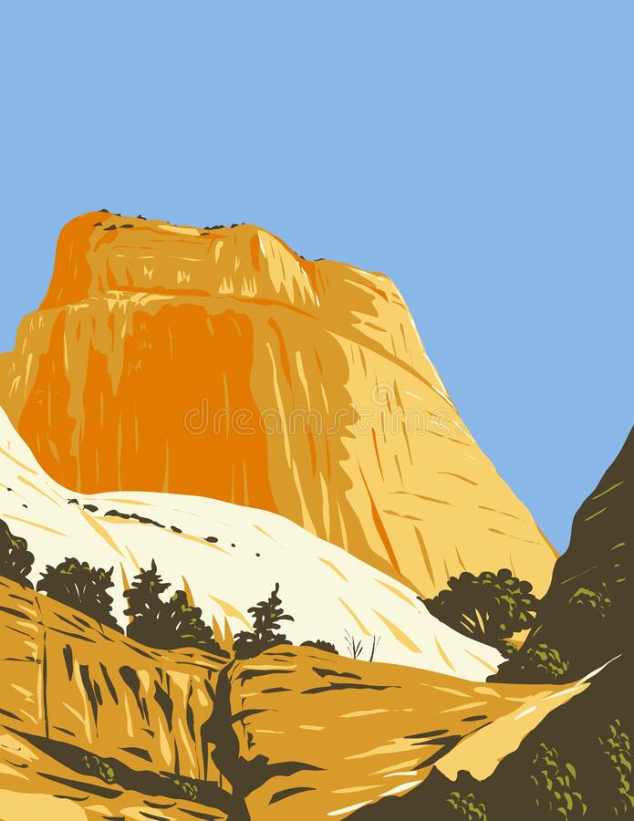 Free The Golden Throne Rock Formation Dome Mountain In Capitol Reef National Park In Wayne County Utah WPA Poster Art Stock Images - 218267254