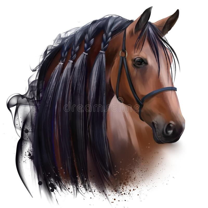 Free The Horse`s Head. Watercolor Drawing Stock Photo - 160126130