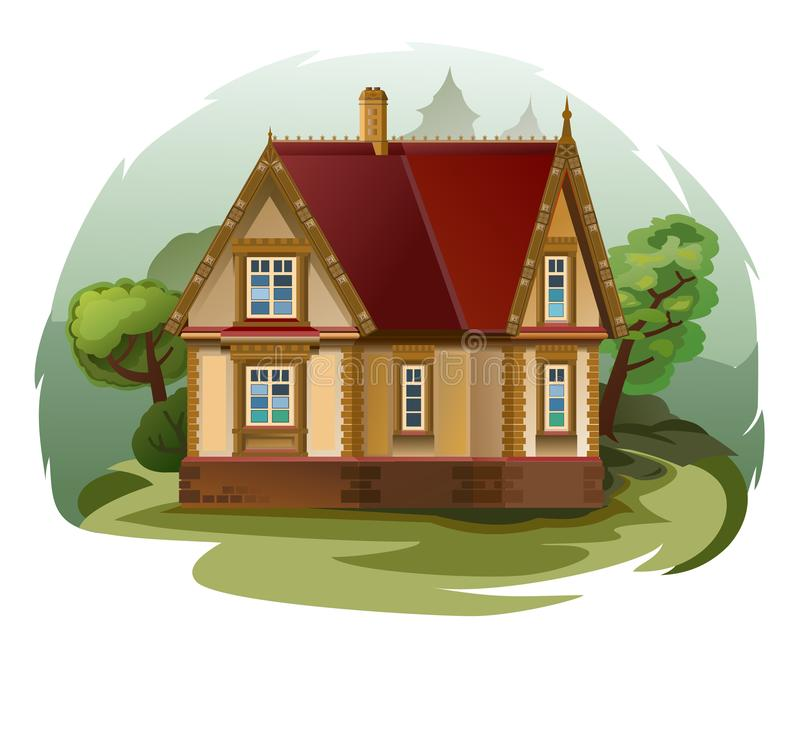 Free The House Is Fabulous, Cartoon. Village Cottage. House In The Forest. Holiday. Cottage, Cottage. A Cozy House. Two-storey House Wi Stock Photos - 164262193