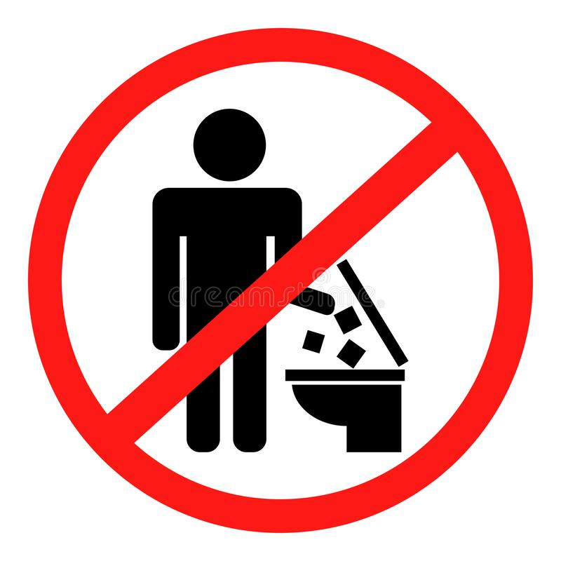 Free The Icon Does Not Throw Garbage In The Toilet. Vector Image Royalty Free Stock Photo - 138362625