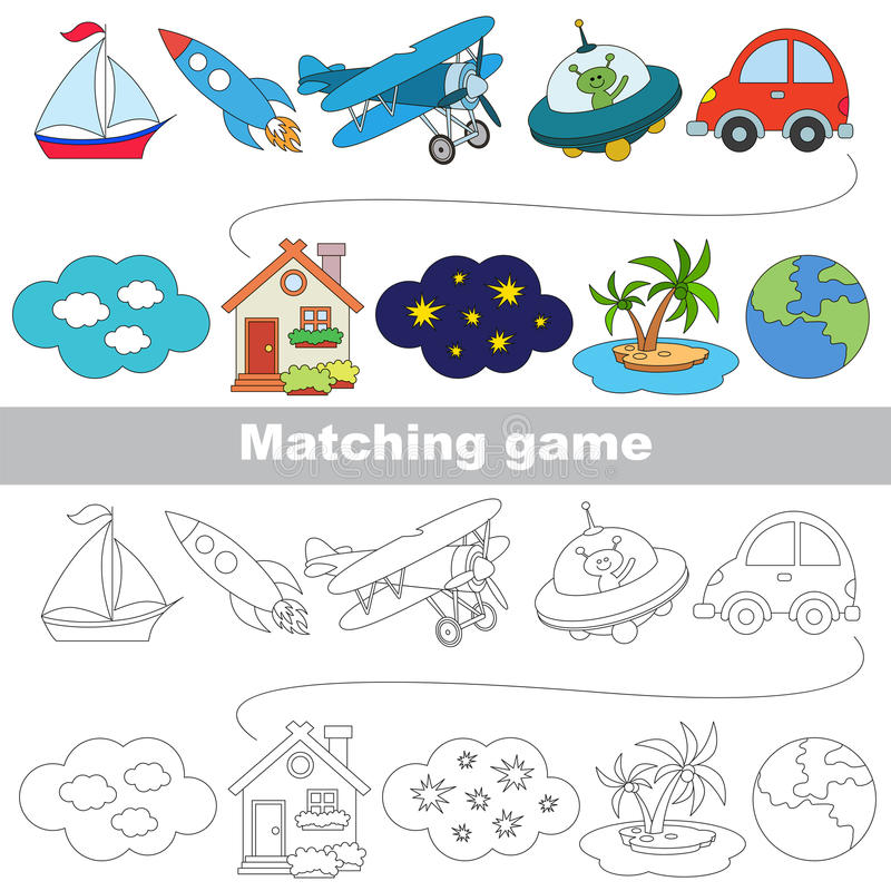 Free The Kid Game To Find Relevant Pair Of Objects. Royalty Free Stock Photo - 90143455