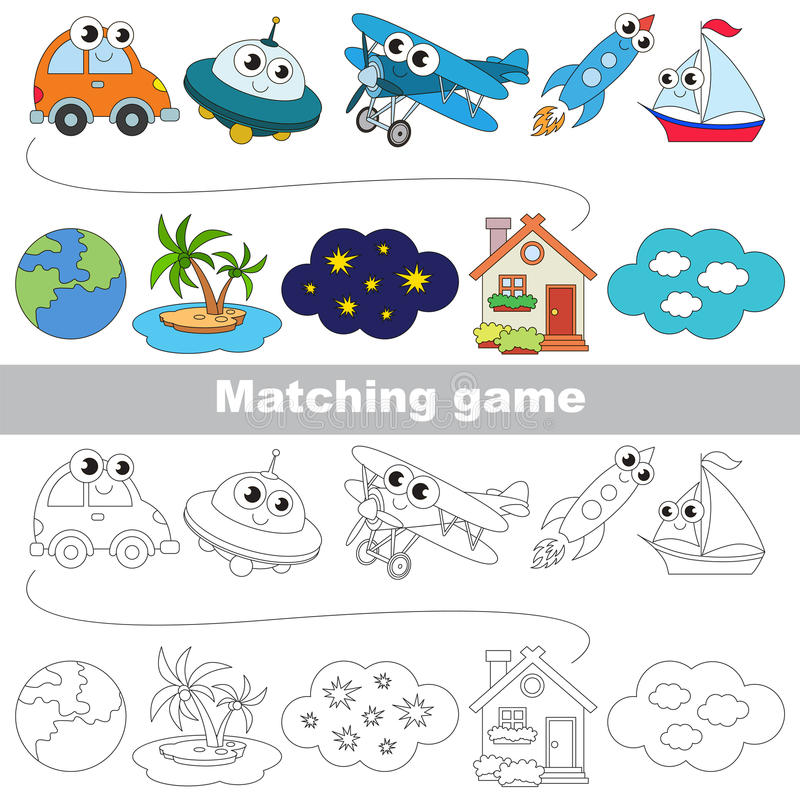 Free The Kid Game To Find Relevant Pair Of Objects. Stock Images - 90143504