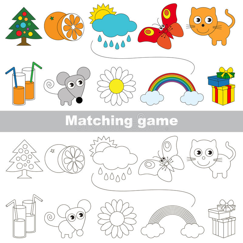 Free The Kid Game To Find Relevant Pair Of Objects. Stock Photography - 90143742