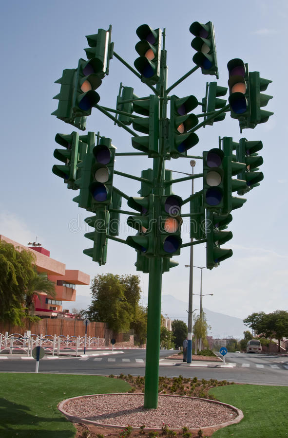 Free The Last Traffic Light At Eilat, Israel Stock Images - 16954304