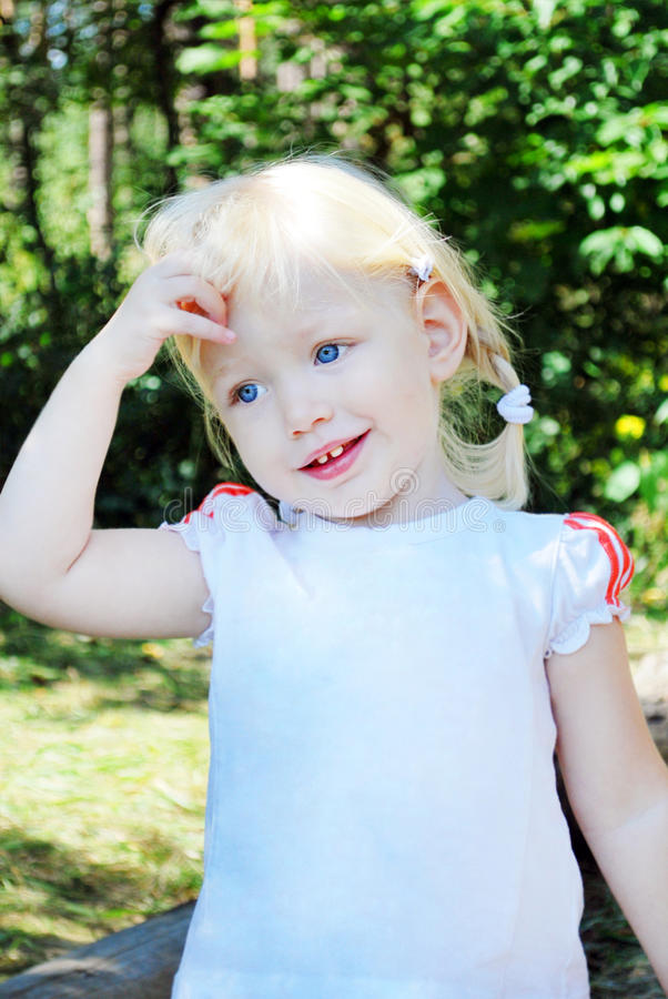 Free The Little Blue-eyed Blonde . Oh, I Did Something Wrong Royalty Free Stock Images - 34974329