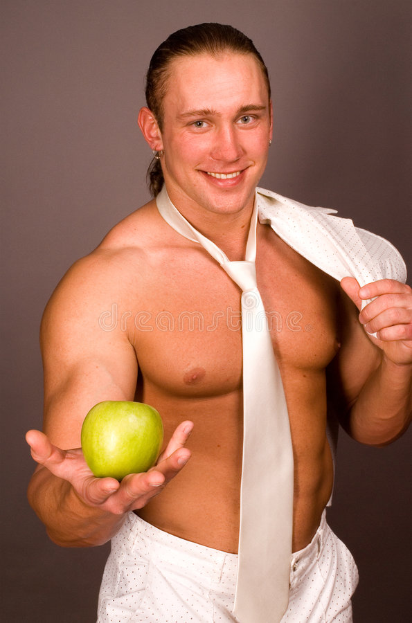 Free The Man With An Apple Stock Photography - 2199352