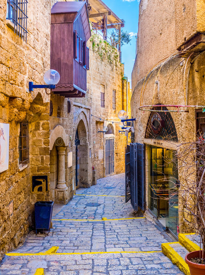 Free The Medieval Winding Street In Jaffa Stock Image - 71366021