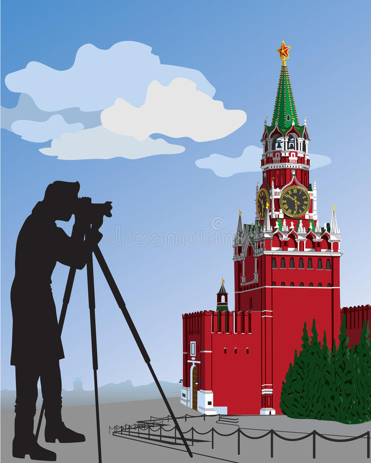 Free The Moscow Kremlin And Photographer.Illustration Royalty Free Stock Photography - 37142397