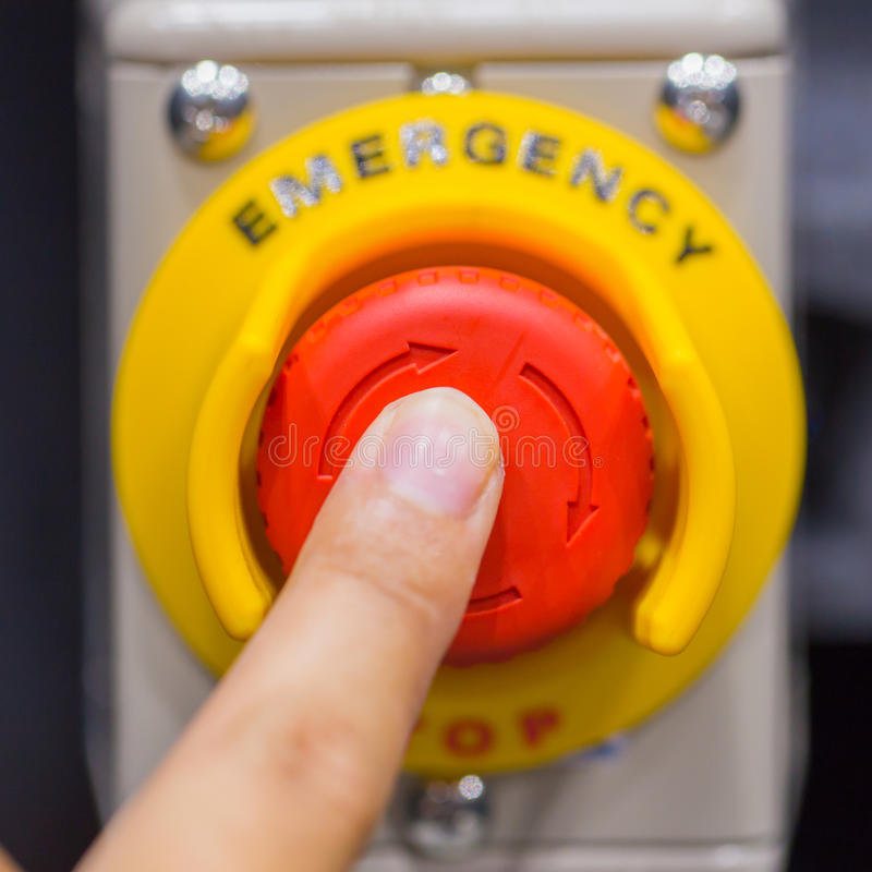 Free The Red Emergency Button Or Stop Button For Hand Press. STOP Button For Industrial Machine Royalty Free Stock Image - 80688516