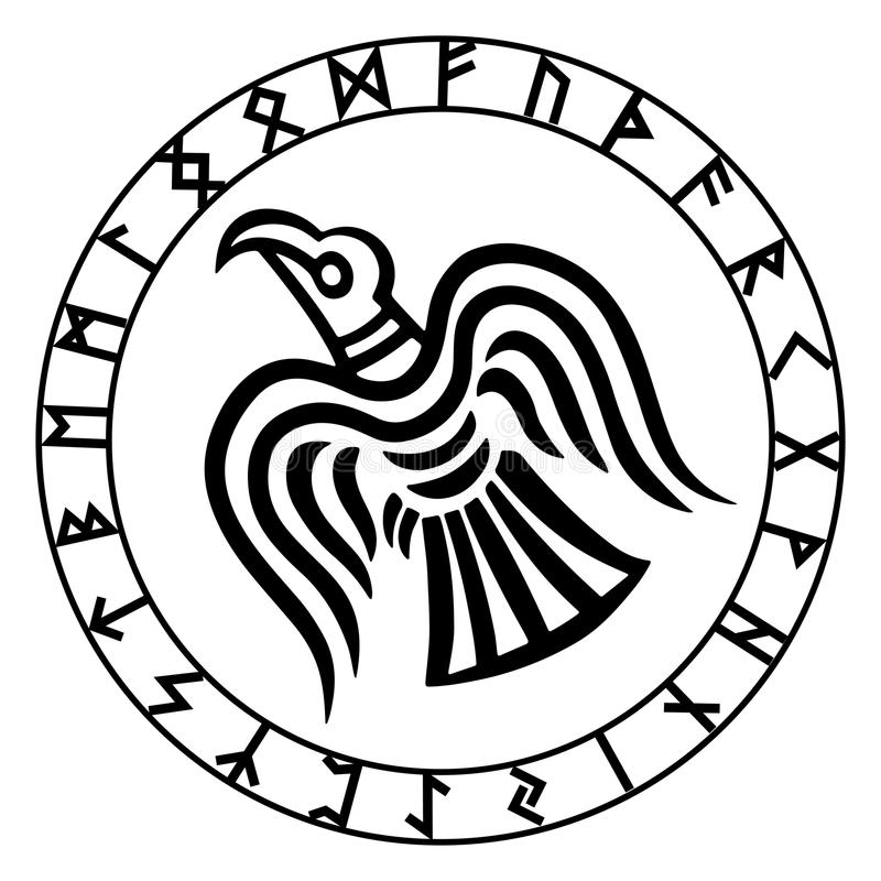 Free The Runic Circle. Futhark. Inscribed Into The Rune Circle Odin`s Raven`s Royalty Free Stock Photography - 81400617